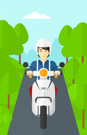 asian cartoon: An asian man riding a scooter on the asphalt road on the background of forest vector flat design illustration. Vertical layout.