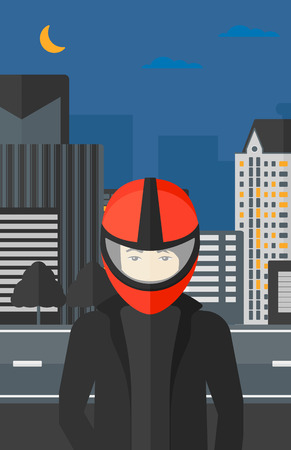 deportes caricatura: An asian man in biker helmet on the background of night city vector flat design illustration. Vertical layout.