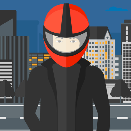An asian man in biker helmet on the background of night city vector flat design illustration. Square layout. Vectores