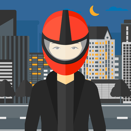 asian cartoon: An asian woman in biker helmet on the background of night city vector flat design illustration. Square layout.