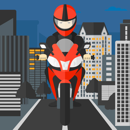 deportes caricatura: An asian man riding a motorcycle on the background of night city vector flat design illustration. Square layout. Vectores