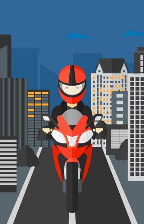 deportes caricatura: An asian woman riding a motorcycle on the background of night city vector flat design illustration. Vertical layout.
