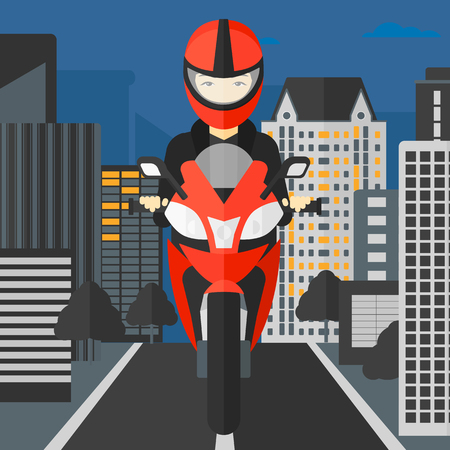 bicycle helmet: An asian woman riding a motorcycle on the background of night city vector flat design illustration. Square layout. Illustration