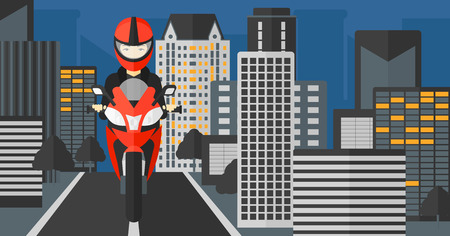 asian cartoon: An asian woman riding a motorcycle on the background of night city vector flat design illustration. Horizontal layout.