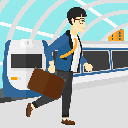 An asian man walking on the platform on the background of modern train arriving at the station vector flat design illustration. Square layout.