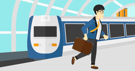 arriving: An asian man walking on the platform on the background of modern train arriving at the station vector flat design illustration. Horizontal layout.