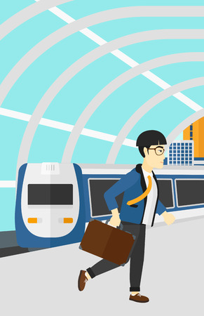 An asian man walking on the platform on the background of modern train arriving at the station vector flat design illustration. Vertical layout.