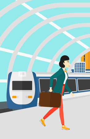 arriving: An asian woman walking on the platform on the background of modern train arriving at the station vector flat design illustration. Vertical layout.