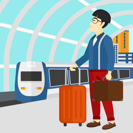 baggage train: An asian man standing with suitcase on wheels and holding a briefcase in hand on the background of modern train arriving at the station vector flat design illustration. Square layout. Illustration