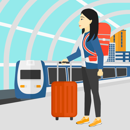 baggage train: An asian woman standing with suitcase on wheels and holding a briefcase in hand on the background of modern train arriving at the station vector flat design illustration. Square layout.