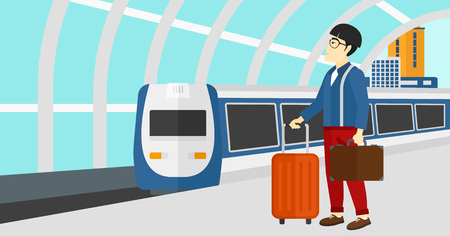 baggage train: An asian man standing with suitcase on wheels and holding a briefcase in hand on the background of modern train arriving at the station vector flat design illustration. Horizontal layout.