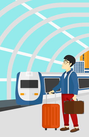baggage train: An asian man standing with suitcase on wheels and holding a briefcase in hand on the background of modern train arriving at the station vector flat design illustration. Vertical layout. Illustration