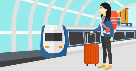 An asian woman standing with suitcase on wheels and holding a briefcase in hand on the background of modern train arriving at the station vector flat design illustration. Horizontal layout. Çizim