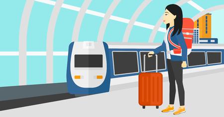 mujer con maleta: Una mujer asiática de pie con la maleta sobre ruedas y con un maletín en la mano en el fondo del moderno tren llegando a la estación de ilustración vectorial diseño plano. disposición horizontal.