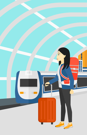 modern train: An asian woman standing with suitcase on wheels and holding a briefcase in hand on the background of modern train arriving at the station vector flat design illustration. Vertical layout.