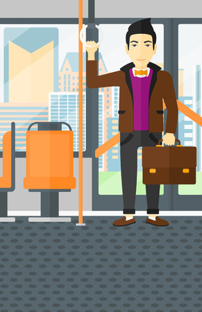 handgrip: An asian man with a suitcase standing inside public transport vector flat design illustration. Vertical layout. Illustration