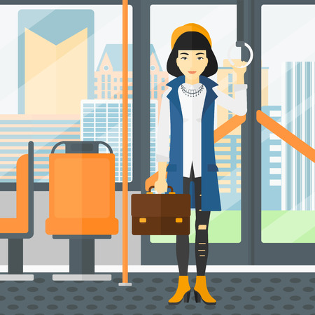 handgrip: An asian woman with a suitcase standing inside public transport vector flat design illustration. Square layout.