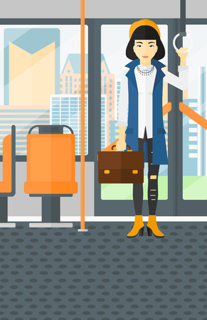 An asian woman with a suitcase standing inside public transport vector flat design illustration. Vertical layout.