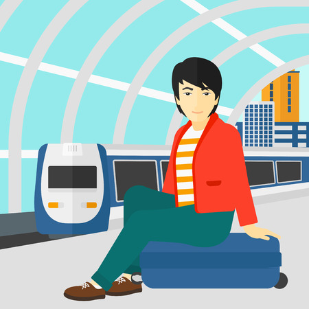 arriving: An asian man sitting on a railway platform on the background of modern train arriving at the station vector flat design illustration. Square layout. Illustration
