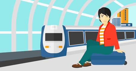 An asian man sitting on a railway platform on the background of modern train arriving at the station vector flat design illustration. Horizontal layout. Illustration
