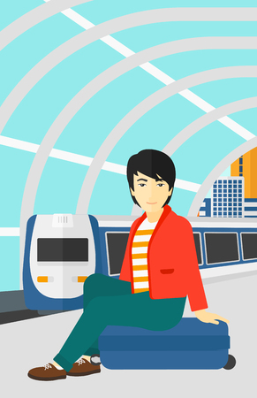 arriving: An asian man sitting on a railway platform on the background of modern train arriving at the station vector flat design illustration. Vertical layout.