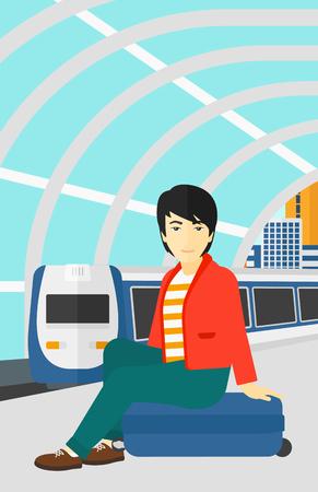 Un hombre asiático sentado en una plataforma ferroviaria en el fondo del moderno tren llegando a la estación de ilustración vectorial diseño plano. disposición vertical. Ilustración de vector