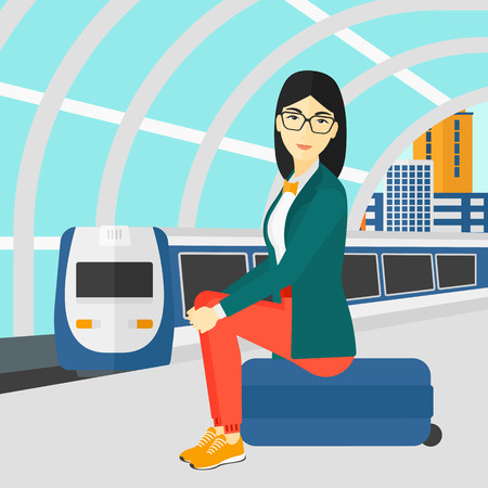 arriving: An asian woman sitting on a railway platform on the background of modern train arriving at the station vector flat design illustration. Square layout.
