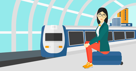 An asian woman sitting on a railway platform on the background of modern train arriving at the station vector flat design illustration. Horizontal layout.
