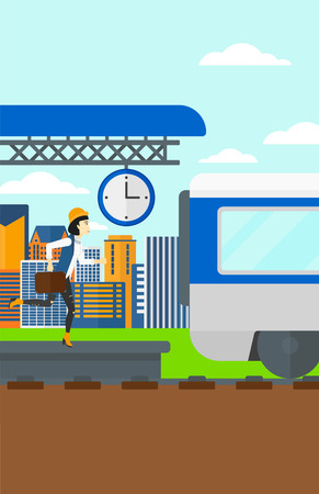An asian woman running along the platform to reach the train on a city background vector flat design illustration. Vertical layout. Illustration