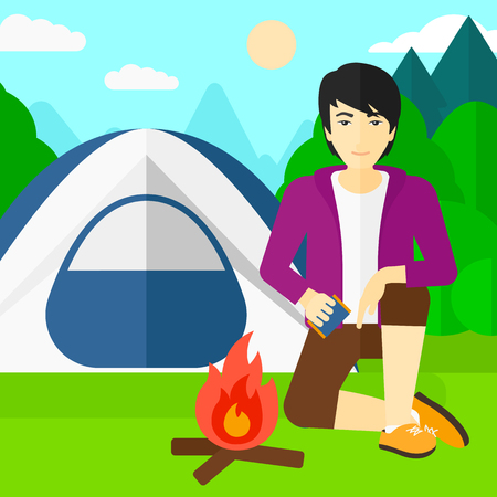 kindling: An asian man kindling a fire on the background of camping site with tent vector flat design illustration. Square layout.