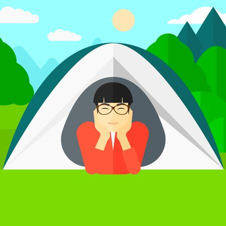 forest trees: An asian man crawling out from a tent on the background of forest vector flat design illustration. Square layout.