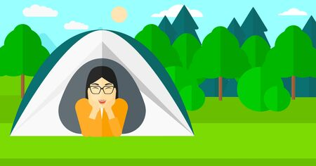 forest trees: An asian woman crawling out from a tent on the background of forest vector flat design illustration. Horizontal layout.