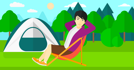 camping site: An asian man sitting in a folding chair on the background of camping site with tent vector flat design illustration. Horizontal layout.