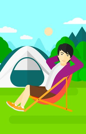 camping site: An asian man sitting in a folding chair on the background of camping site with tent vector flat design illustration. Vertical layout. Illustration