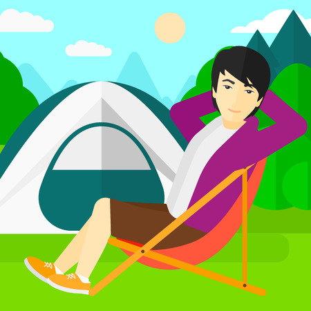 camping site: An asian man sitting in a folding chair on the background of camping site with tent vector flat design illustration. Square layout.