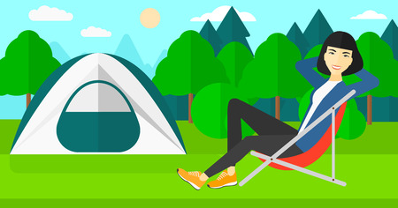 site: An asian woman sitting in a folding chair on the background of camping site with tent vector flat design illustration. Horizontal layout.
