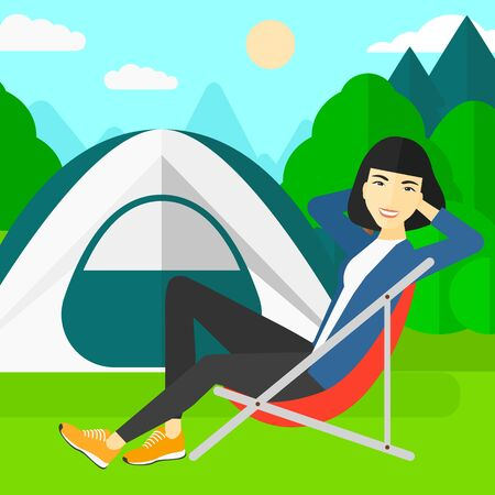 camping site: An asian woman sitting in a folding chair on the background of camping site with tent vector flat design illustration. Square layout.