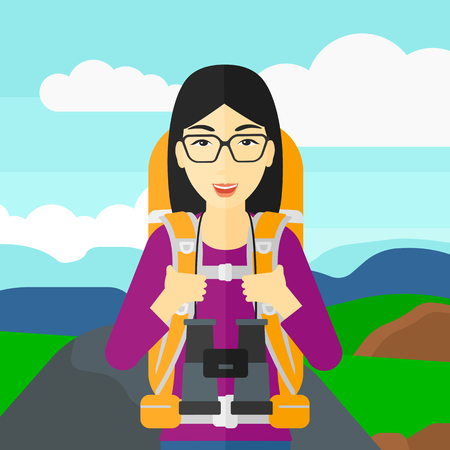 hilly: An asian woman with backpack and binoculars hiking on the background of hilly countryside vector flat design illustration. Square layout.