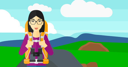 An asian woman with backpack and binoculars hiking on the background of hilly countryside vector flat design illustration. Horizontal layout.
