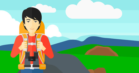 hilly: An asian man with backpack and binoculars hiking on the background of hilly countryside vector flat design illustration. Horizontal layout.