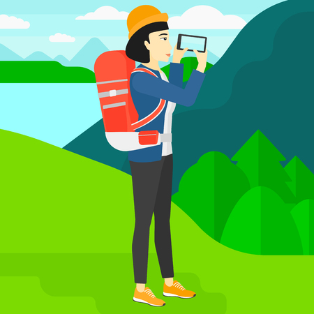 An asian woman taking photo of landscape with mountains and lake vector flat design illustration. Square layout.