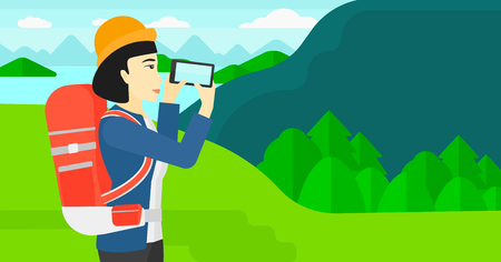 smart phone woman: An asian woman taking photo of landscape with mountains and lake vector flat design illustration. Horizontal layout.