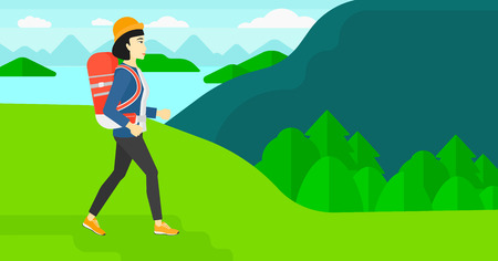woman hiking: An asian woman with backpack hiking in mountains vector flat design illustration. Horizontal layout. Illustration