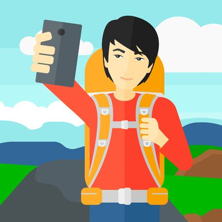 hilly: An asian man making selfie on the background of hilly countryside vector flat design illustration. Square layout.
