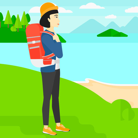 An asian woman with backpack standing on top of a hill and enjoying the sea view vector flat design illustration. Square layout. Illustration
