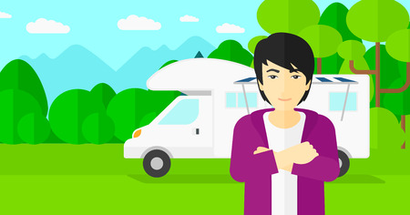An asian man standing on the background of motorhome in the forest vector flat design illustration. Horizontal layout. Vectores
