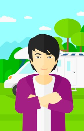 motorhome: An asian man standing on the background of motorhome in the forest vector flat design illustration. Vertical layout.