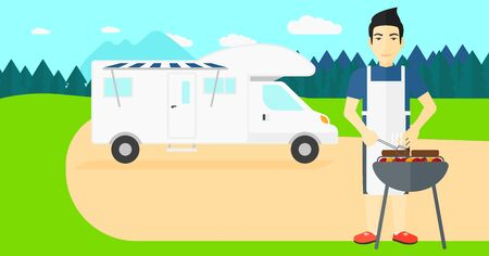 motorhome: An asian man preparing barbecue  on the background of motorhome in the forest vector flat design illustration. Horizontal layout.