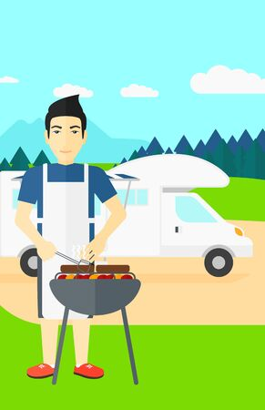 motorhome: An asian man preparing barbecue  on the background of motorhome in the forest vector flat design illustration. Vertical layout. Illustration