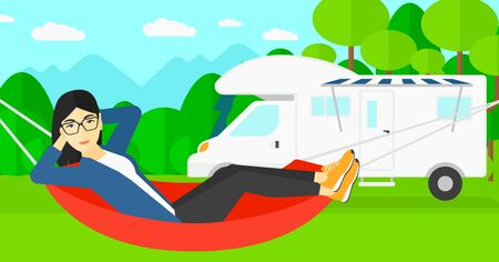 activity cartoon: An asian woman lying in a hammock on the background of motorhome in the forest vector flat design illustration. Horizontal layout.